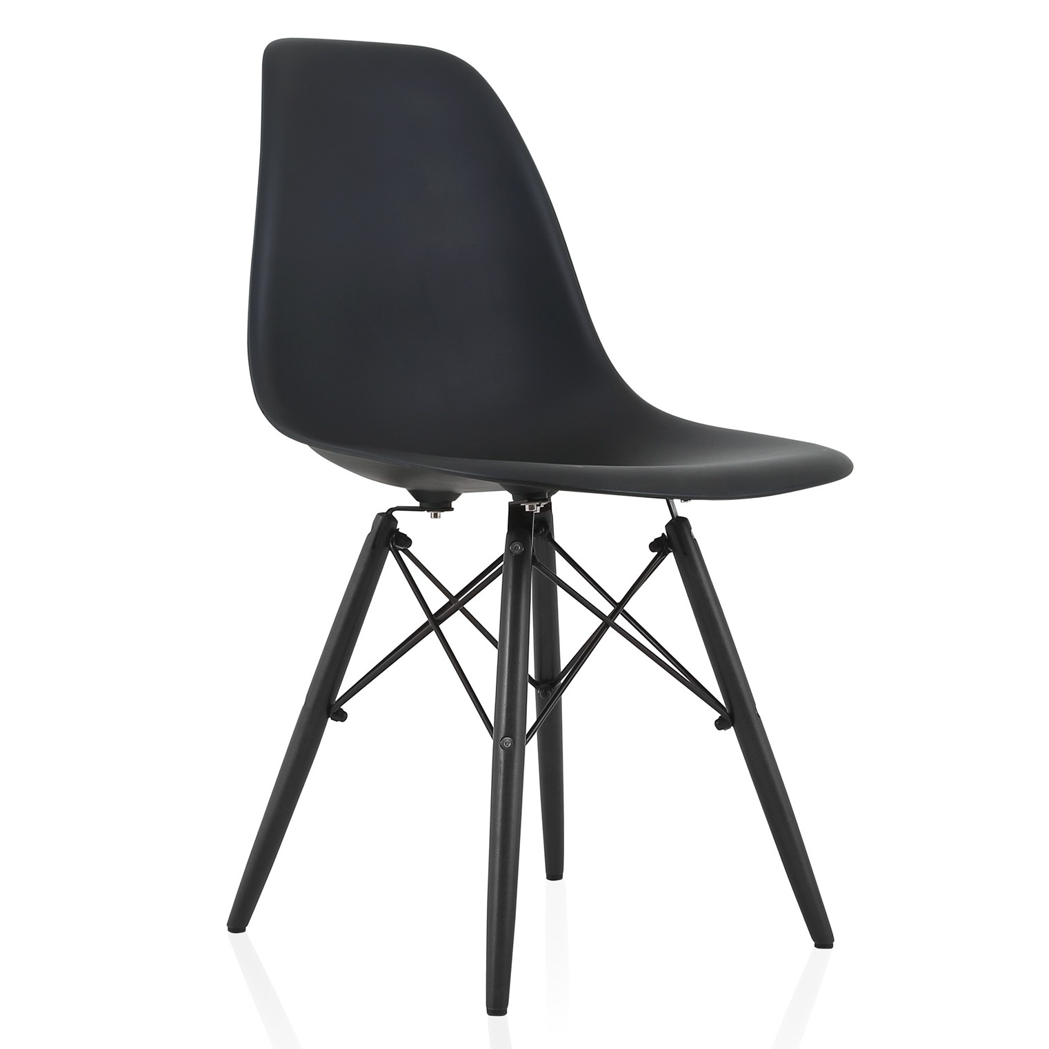 black plastic chair with wooden legs back design names eames style dsw molded dining side