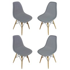 Eiffel Dining Chair With Beech Legs Office Designer Set Of 4 Eames Style Dsw Gray Plastic Shell