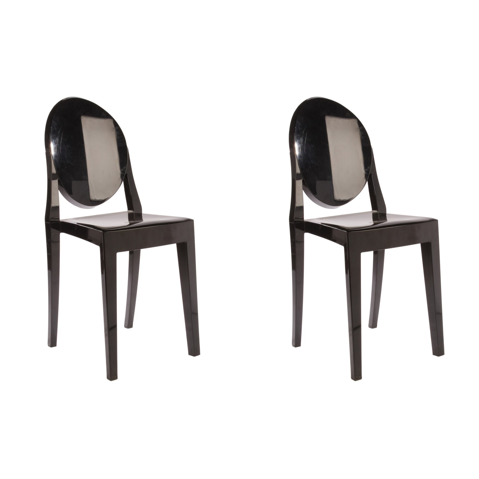 victoria ghost chair motor chairs elderly set of 2 style dining black color