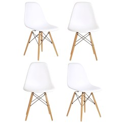 White Plastic Chair Office Not On Wheels Set Of 4 Eames Style Dsw Molded Dining Shell