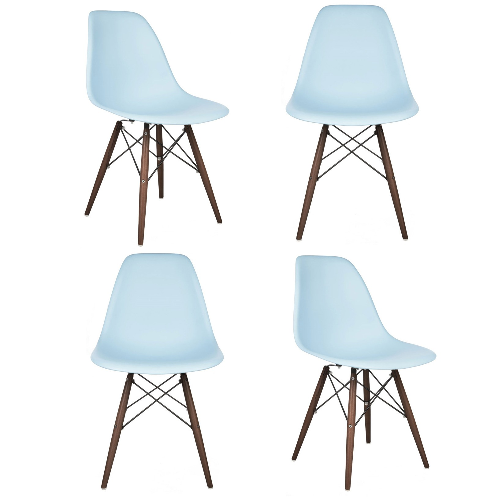 light blue desk chair geri recliner set of 4 eames style dsw molded plastic dining