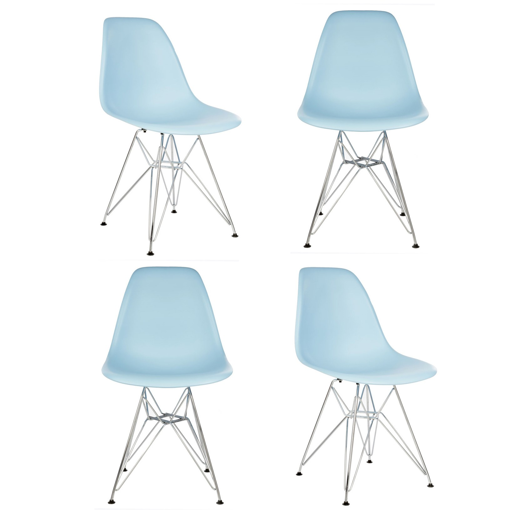 plastic chairs with steel legs storage ottoman sound chair set of 4 eames style dsr molded light blue dining