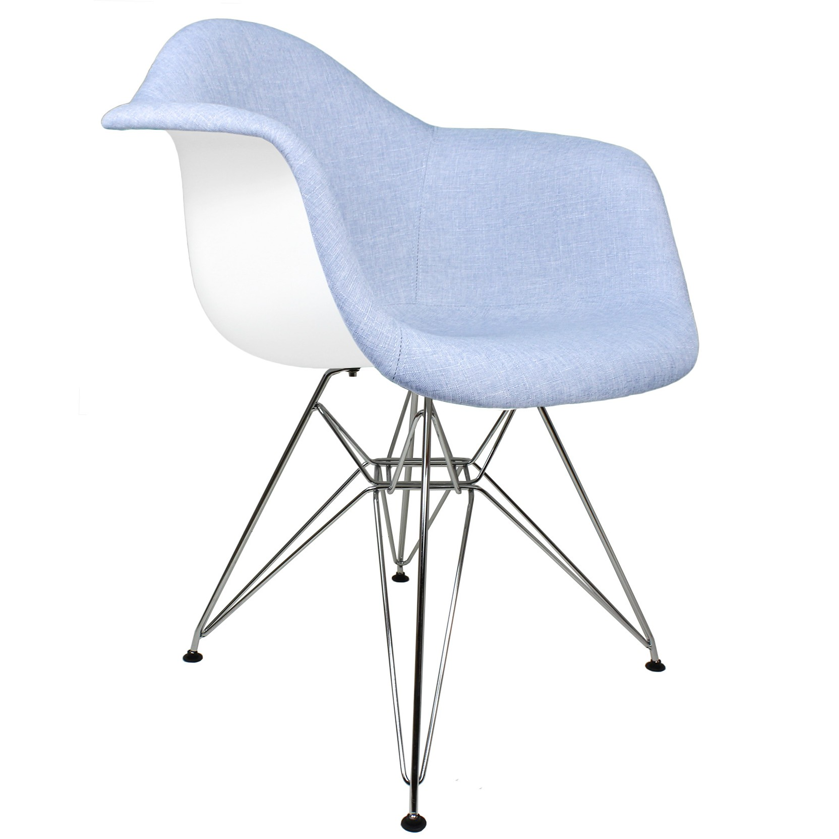 blue accent arm chair assisted lift denim fabric upholstered eames style