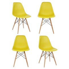 Eiffel Dining Chair With Beech Legs Red Leather Swivel Ikea Set Of 4 Eames Style Dsw Molded Dark Yellow Plastic