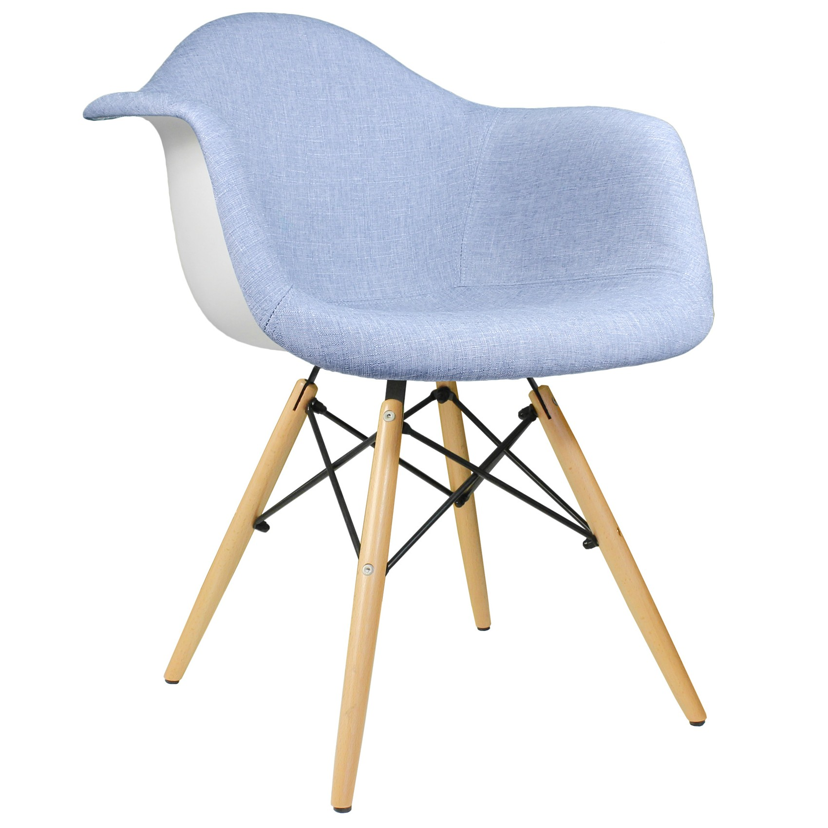 blue accent arm chair fitted covers for cheap denim fabric upholstered eames style