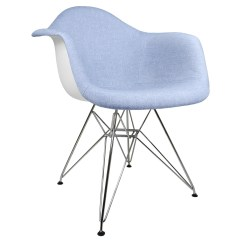 Blue Accent Arm Chair White Spandex Covers In Bulk Denim Fabric Upholstered Eames Style
