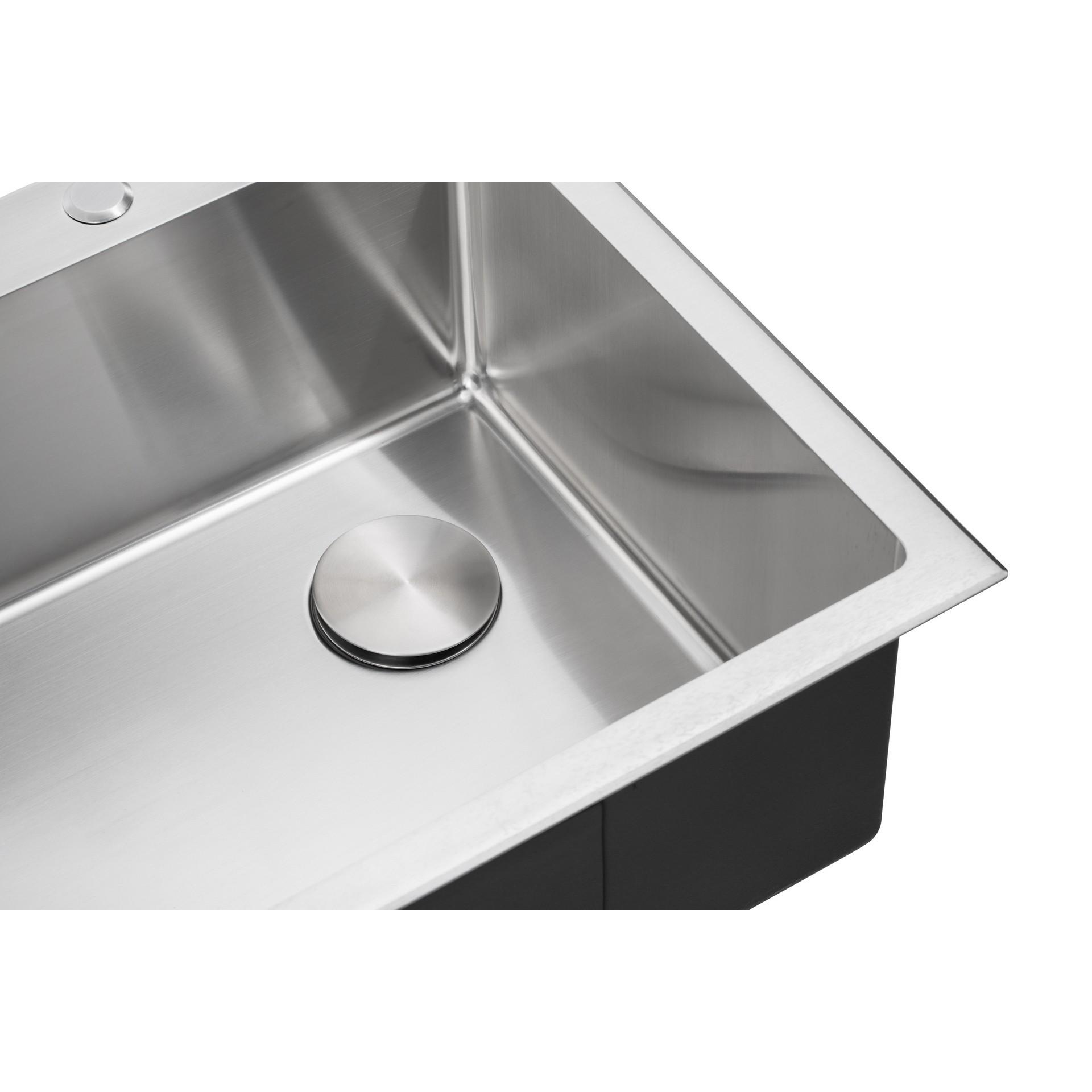 ariel lyrids 33 inch topmount drop in stainless steel sink offset drain opening true 16 gauge bowl w 9 gauge deck includes bottom protective