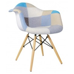 Eames Arm Chair Pool Noodle Style Black Woven Fabric Upholstered Accent Patchwork Mid Century