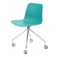 Turquoise Office Chair Papa San Hebe Series Black Molded Plastic Designer Task