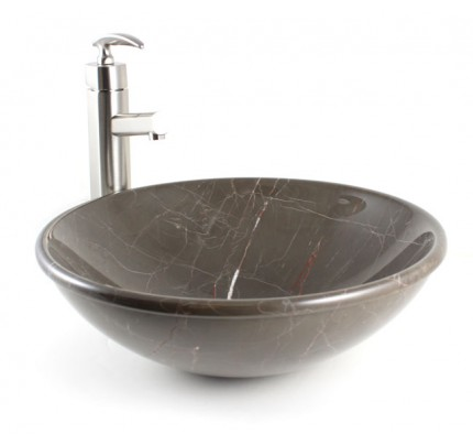 oman beige marble bathroom lavatory vessel sink - 19 x 14 x 6-1/2 inch