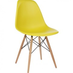 Eiffel Chair Wood Legs Black Modern Dining Eames Style Dsw Molded Dark Yellow Plastic Shell With