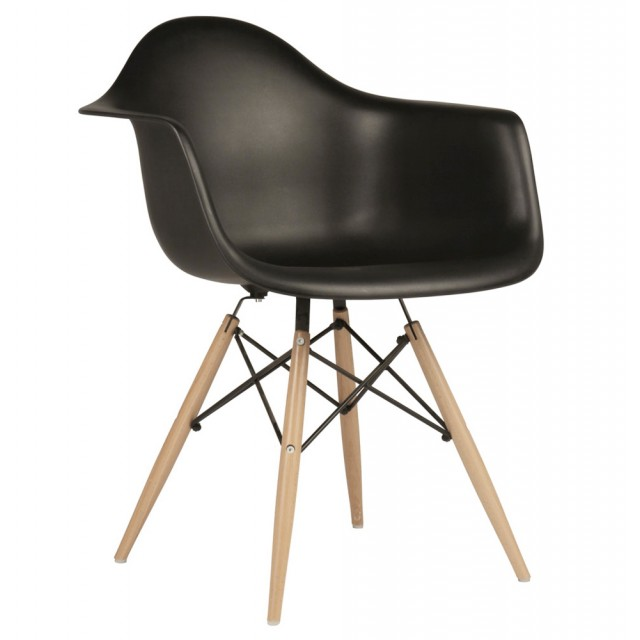 black eames chair foam fold out bed style daw molded in plastic dining armchair with wood eiffel legs