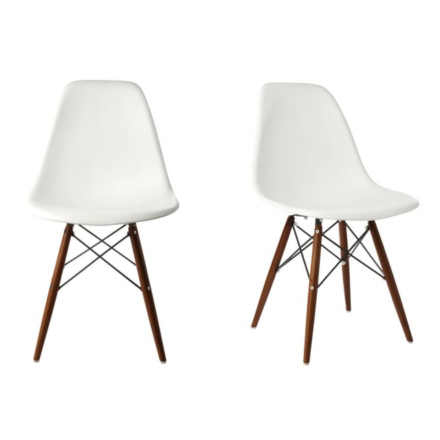 eiffel chair wood legs black wing set of 2 eames style dsw molded white plastic dining shell with dark walnut