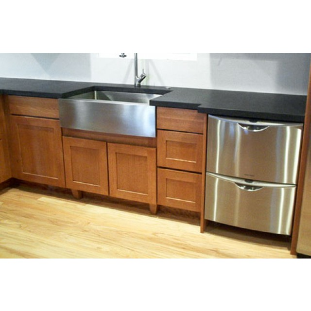 30 inch stainless steel single bowl curved front farm apron kitchen sink zero radius design