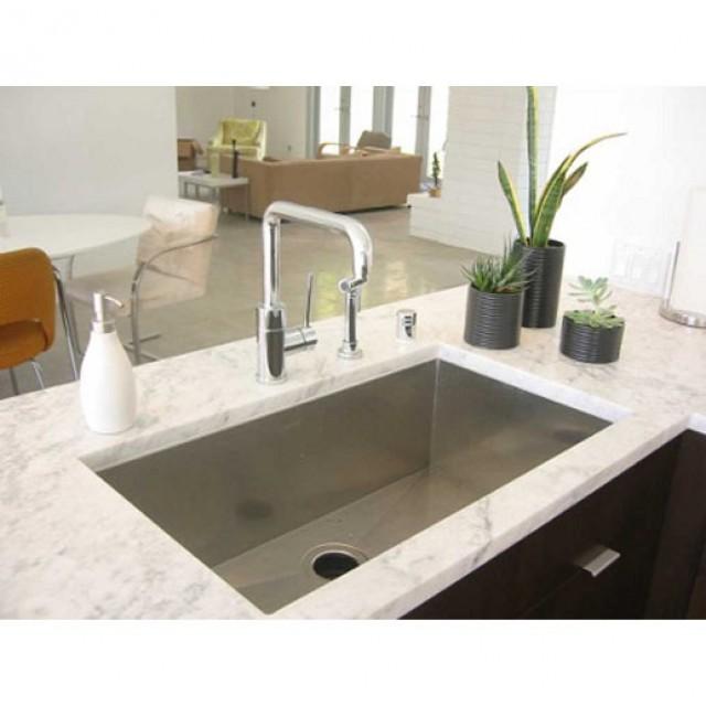 undermount single bowl kitchen sink cabinet carpenter 36 inch stainless steel zero radius design