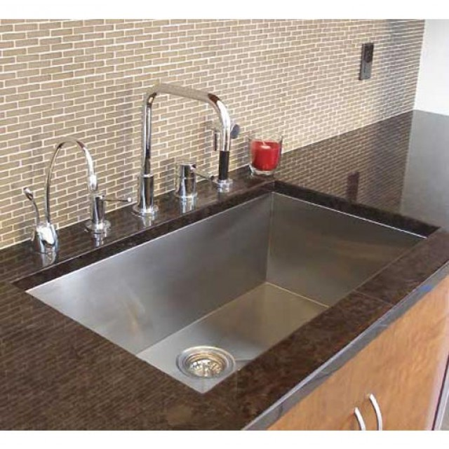 under mount kitchen sink height of stools for island 36 inch stainless steel undermount single bowl zero radius design