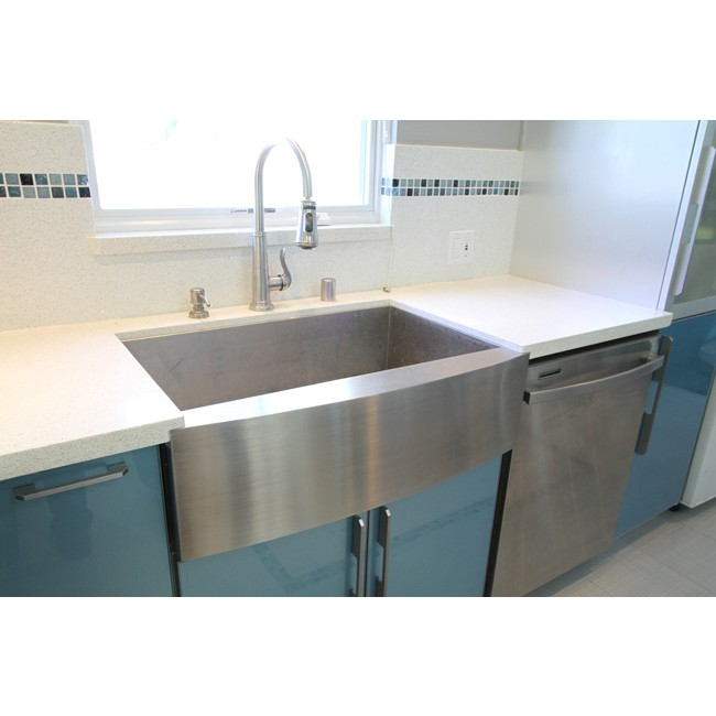 36 kitchen sink shaker island inch stainless steel single bowl curved front farm apron display gallery item 6 5 7