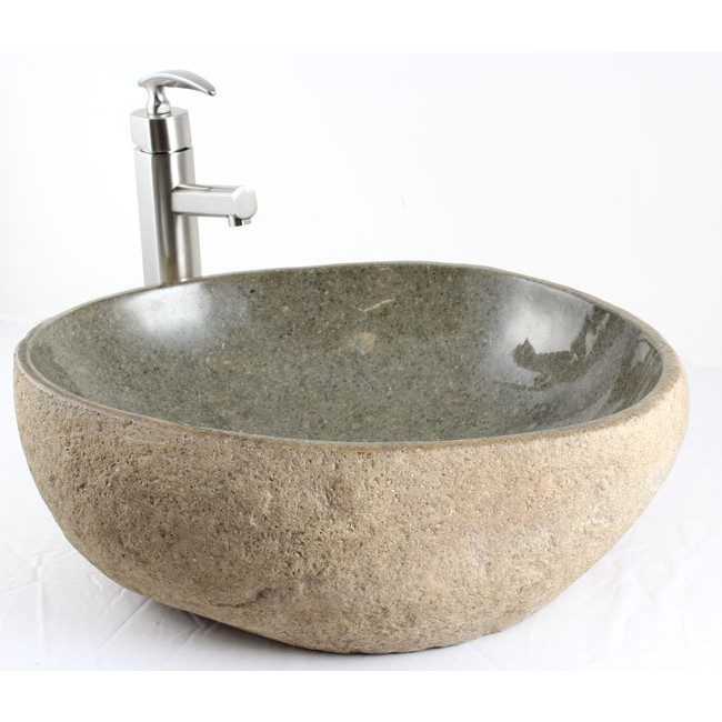 river rock stone bathroom lavatory vessel sink - 19 x 16 x 6-1/4 inch