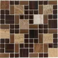 Brown Marble Mixed with Glossy Chocolate Glass Mosaic Tile ...
