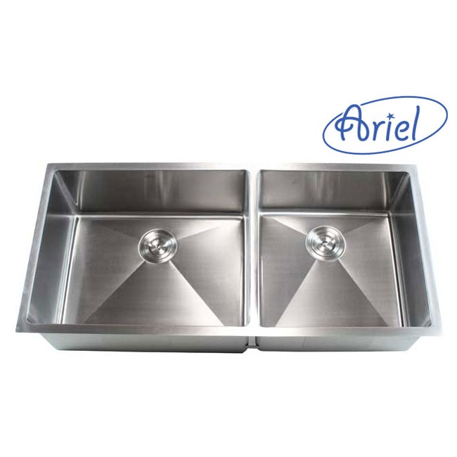 42 inch kitchen sink making a island from cabinets ariel stainless steel undermount double bowl 15mm radius design 16 gauge