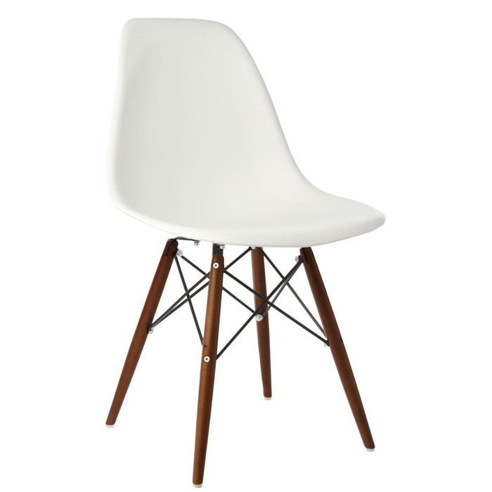 white plastic dining chairs office chair for gaming eames style dsw molded shell with dark walnut wood eiffel legs