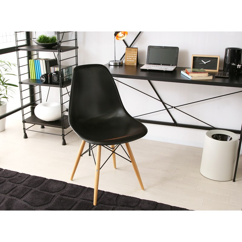 black eames chair salon pedicure chairs style dsw molded plastic dining shell with wood display gallery item 5