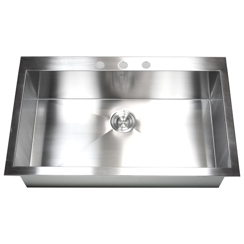 36 kitchen sink free standing cabinet inch top mount drop in stainless steel single super bowl zero