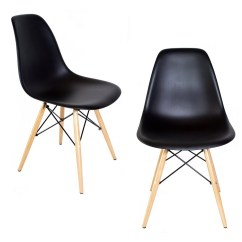 Black Plastic Chair With Wooden Legs Lift Maintenance Set Of 2 Eames Style Dsw Molded Dining Shell Wood Eiffel