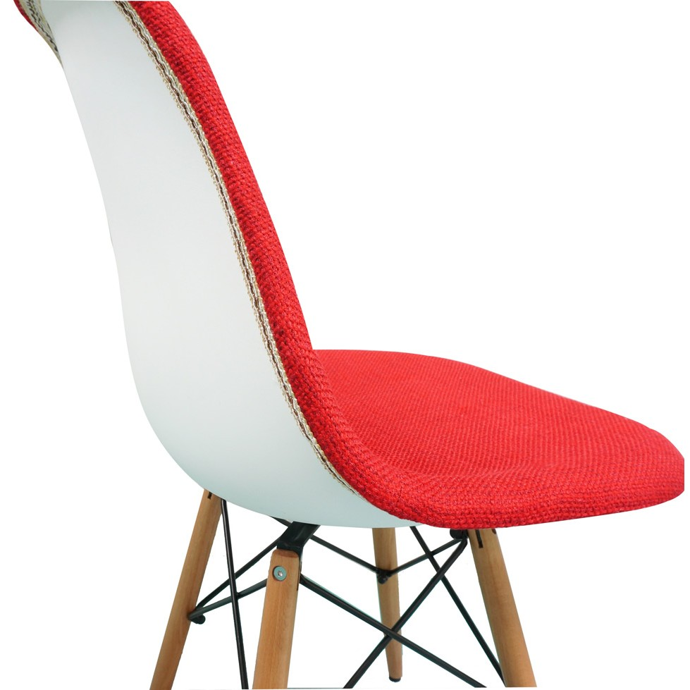 eiffel dining chair with beech legs gaming wheels red fabric upholstered eames style accent dark walnut wood
