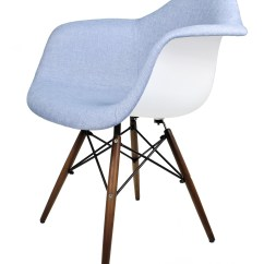 Blue Accent Arm Chair 24 Inch Counter Chairs Denim Fabric Upholstered Eames Style