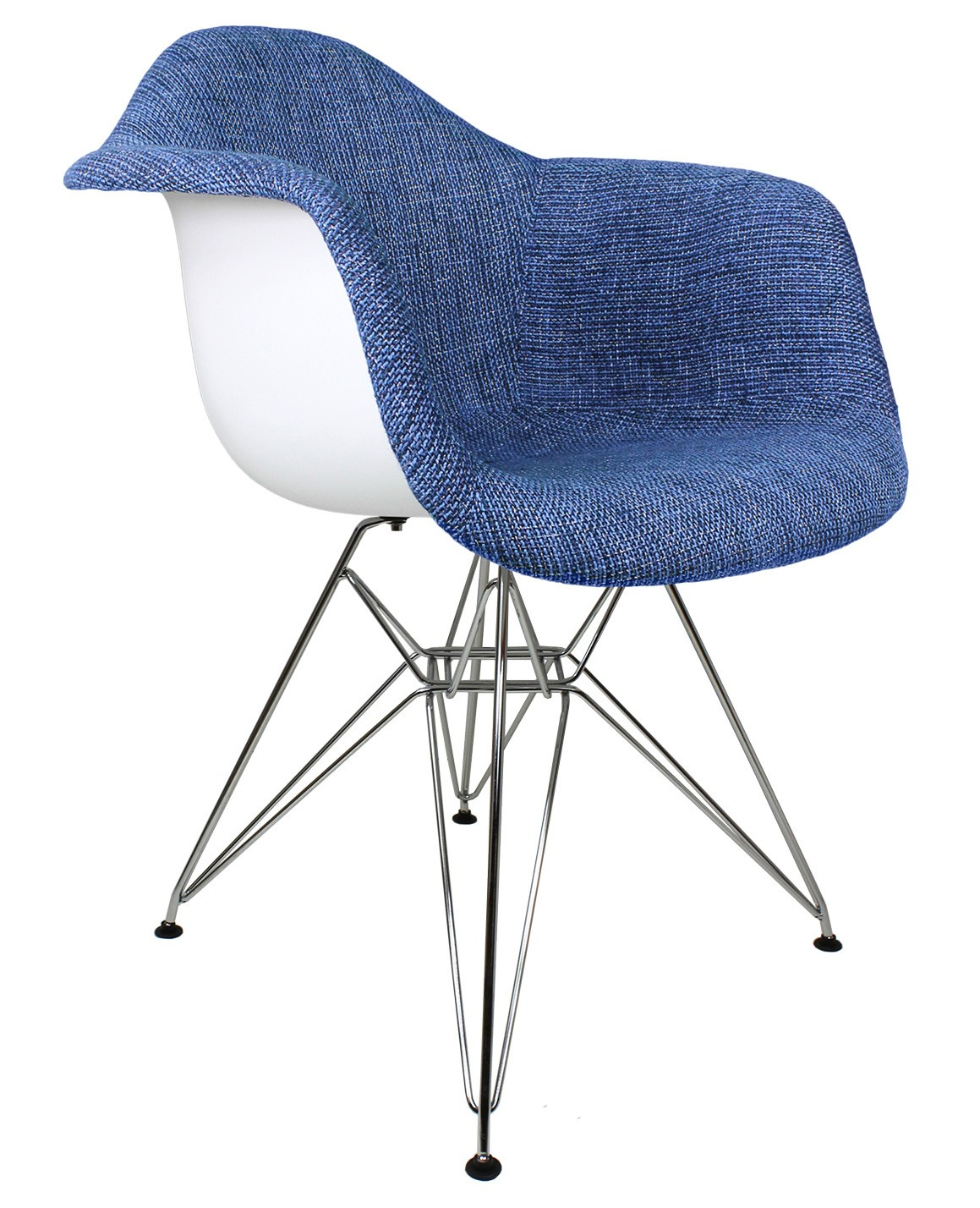 blue accent arm chair dining room set with swivel chairs denim woven fabric upholstered eames style