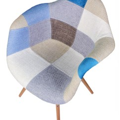 Tub Fabric Accent Chair Patchwork Orthopedic Fishing Upholstered Mid Century Eames Style