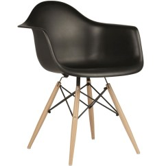 Eames Arm Chair Slipcovers For Style Daw Molded In Black Plastic Dining Armchair With Wood Eiffel Legs