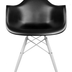 Black Plastic Chair With Wooden Legs Farmhouse Kids Table And Chairs Set In Natural Eames Style Daw Molded Accent Arm