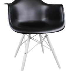 Black Plastic Chair With Wooden Legs Lift Chairs Reviews Eames Style Daw Molded Accent Arm