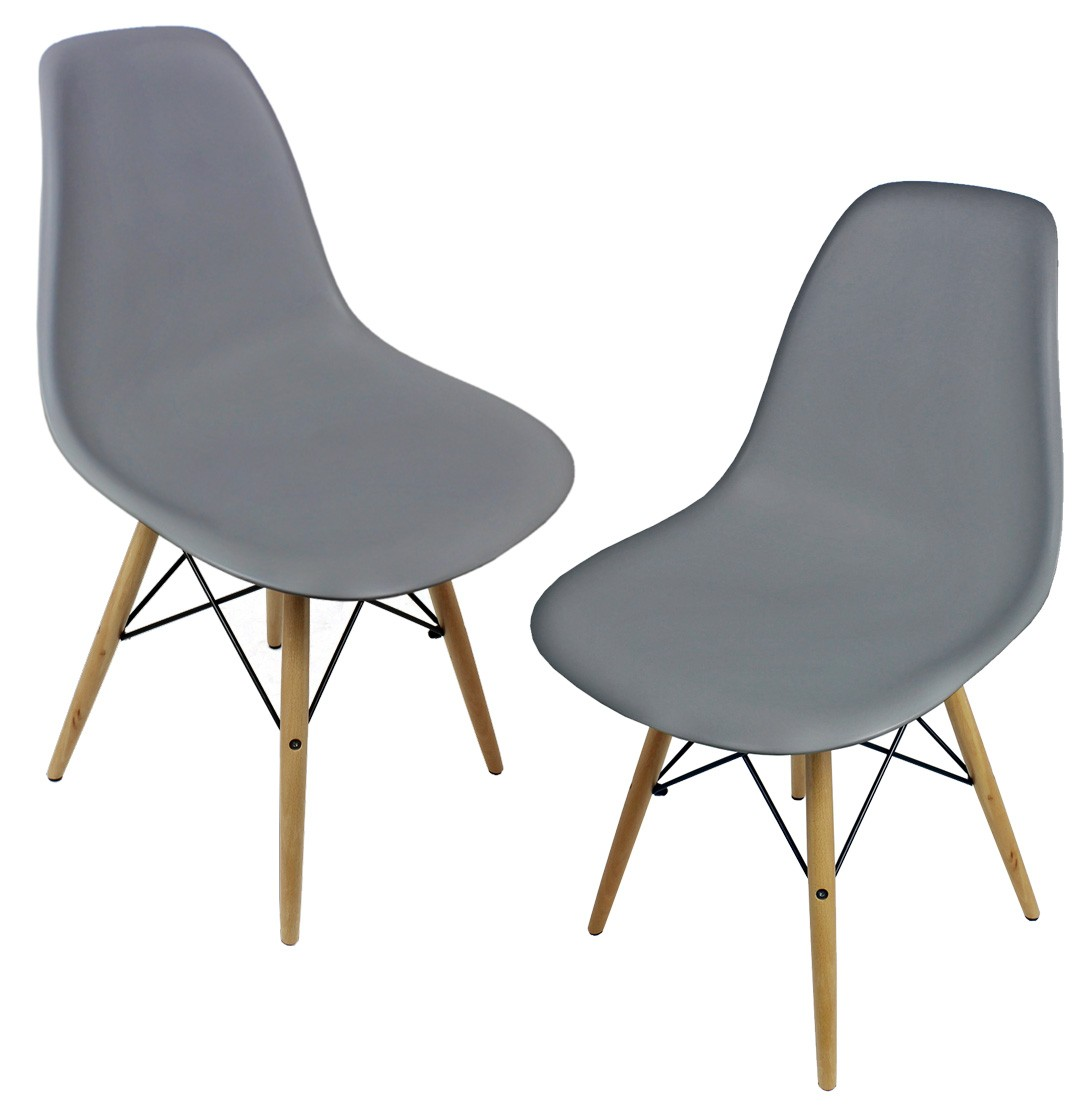 eiffel dining chair with beech legs blue bedroom uk set of 2 eames style dsw gray plastic shell