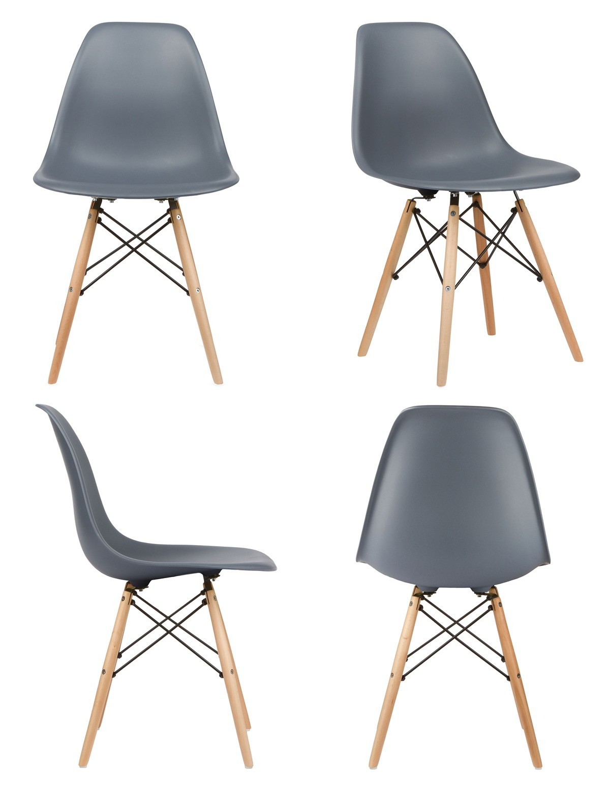 eiffel dining chair with beech legs wedding cover hire southampton set of 2 eames style dsw gray plastic shell