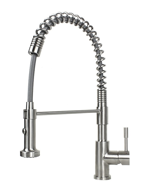 stainless steel kitchen faucets toy sets european style lead free coil spring duel spout brushed nickel ariel solid single handle pull out sprayer faucet
