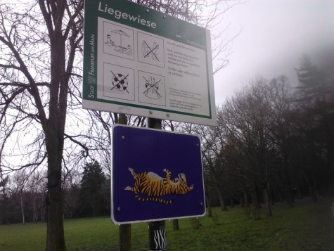 I think the tiger means that lying on the grass is a perfectly acceptable.