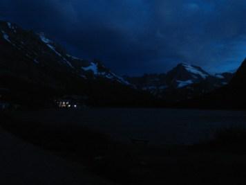 Many Glacier Hotel at night.