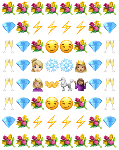 Emoji summary of Real Housewives of Beverly Hills Season 7 finale with images of diamonds, smirks, roses, land lighting