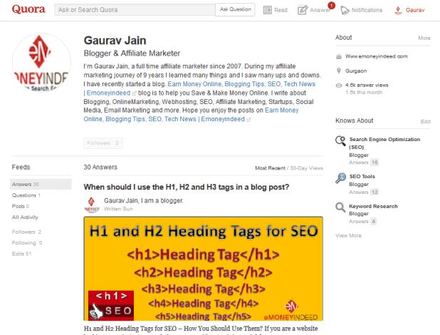 Gaurav Jain Quora Profile