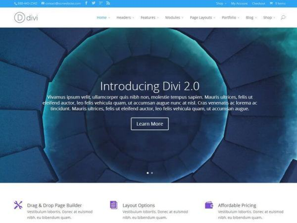 Divi is another impressive wordpress theme from the house of ElegantThemes