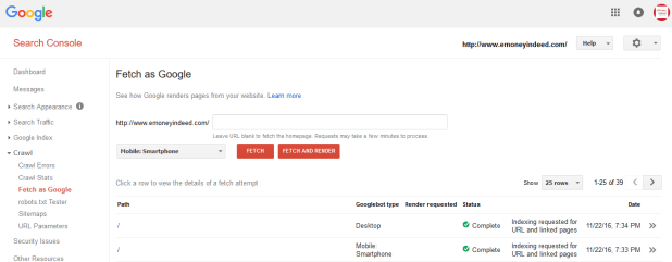 Fetch and Render Tool in Google Search Console
