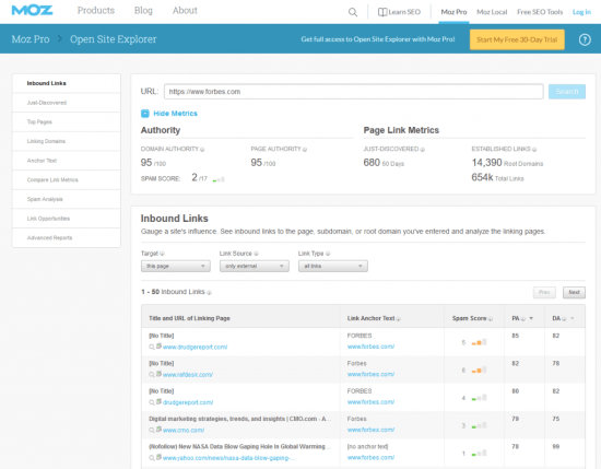 find the backlinks through Moz Open Site Explorer