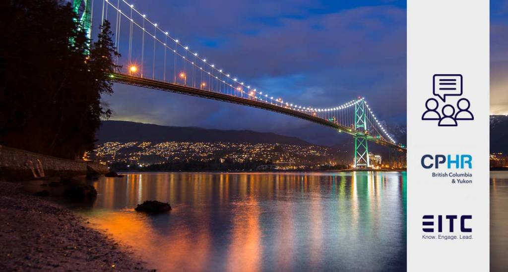 Bridge to North Vancouver as seen at night from the beach: logos from CPHR BC & YK and EITC.