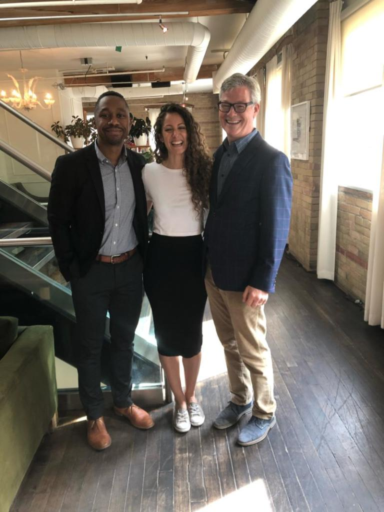 Carlos Cadogan, Lana Saleh, and David Cory stand together in Toronto for an MHS event.