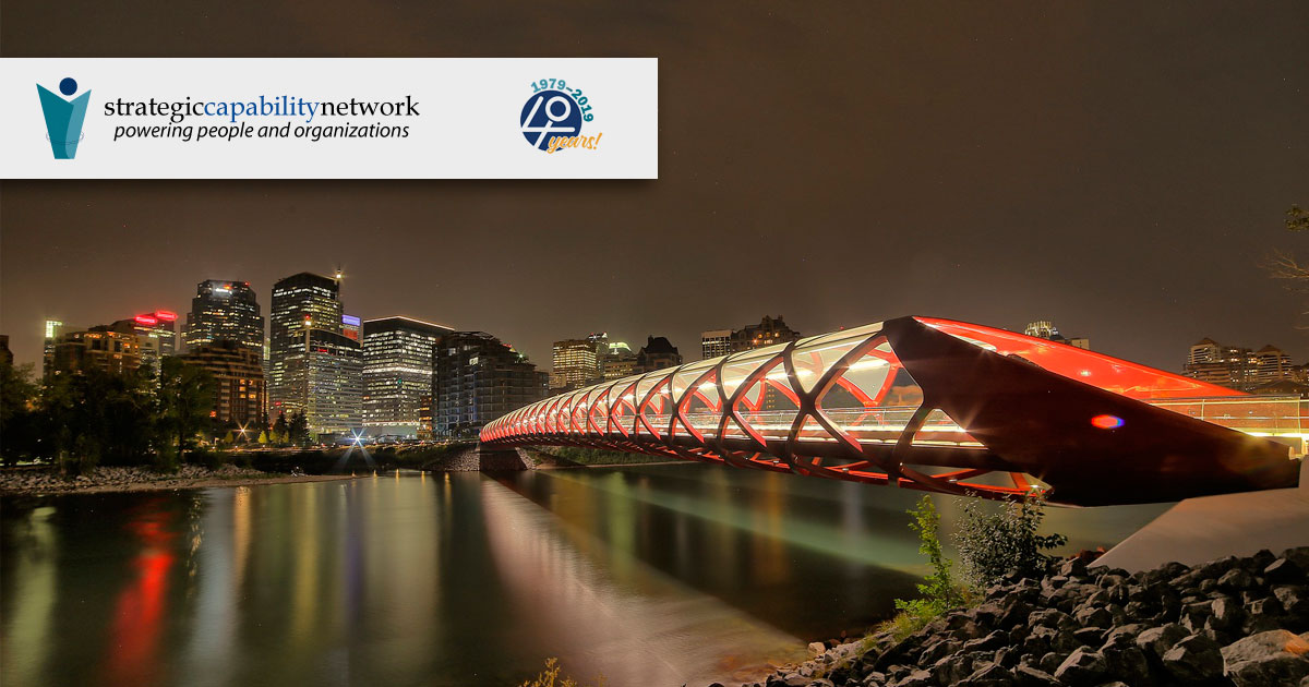 Strategic Capabilities Network, Calgary, with the downtown bridge in the foreground.