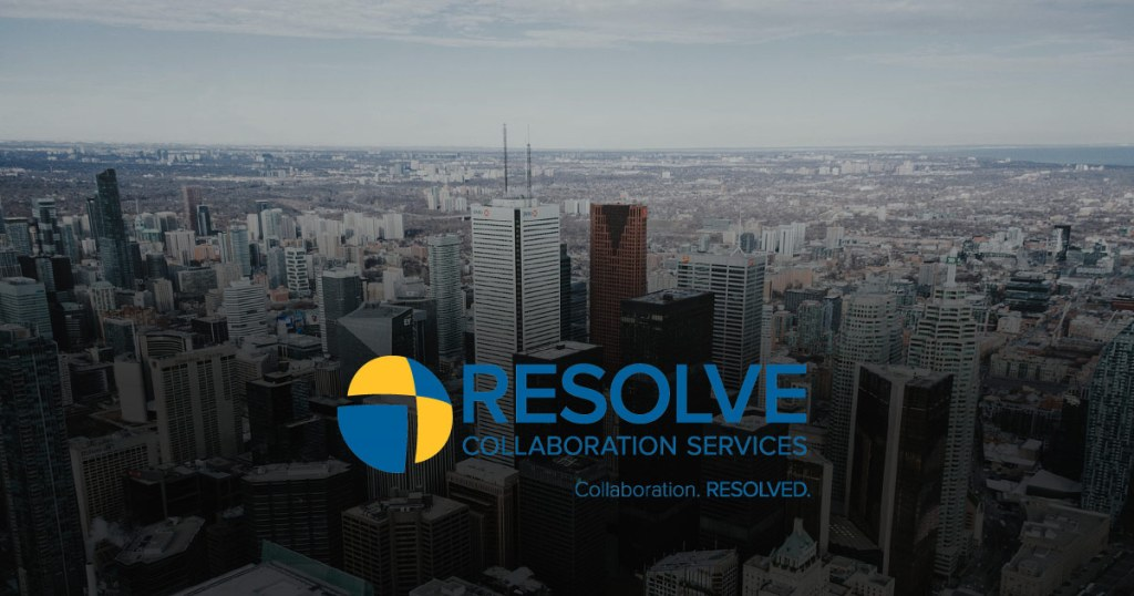 The Resolve Collaboration Services floats over top of the city of Toronto.