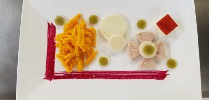 Carottes, pomme de terre, fromage et jambon